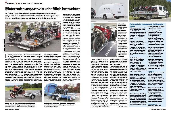 Motorradtransport wirtschaftlich betrachtet
